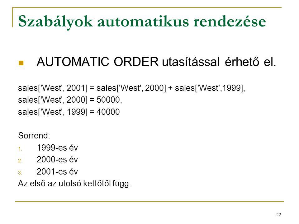 Szabályok automatikus rendezése