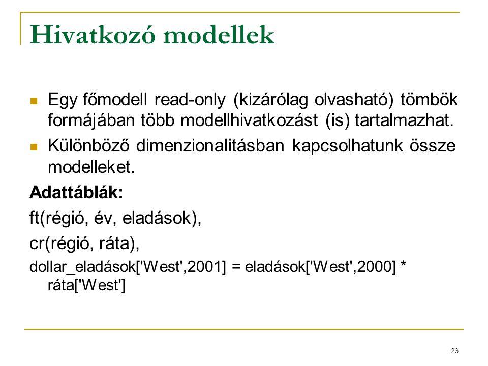 Hivatkozó modellek Egy főmodell read-only (kizárólag olvasható) tömbök formájában több modellhivatkozást (is) tartalmazhat.