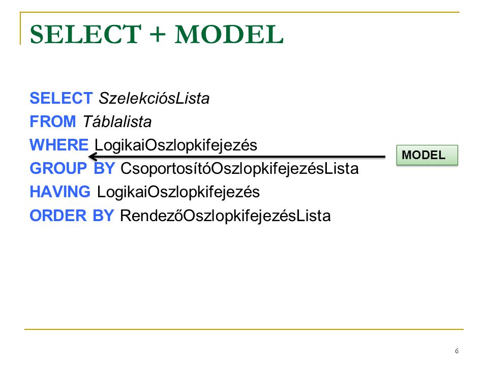 SELECT + MODEL