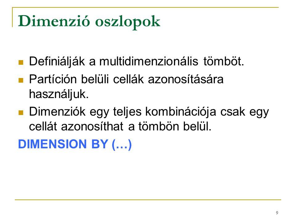 Dimenzió oszlopok Definiálják a multidimenzionális tömböt.