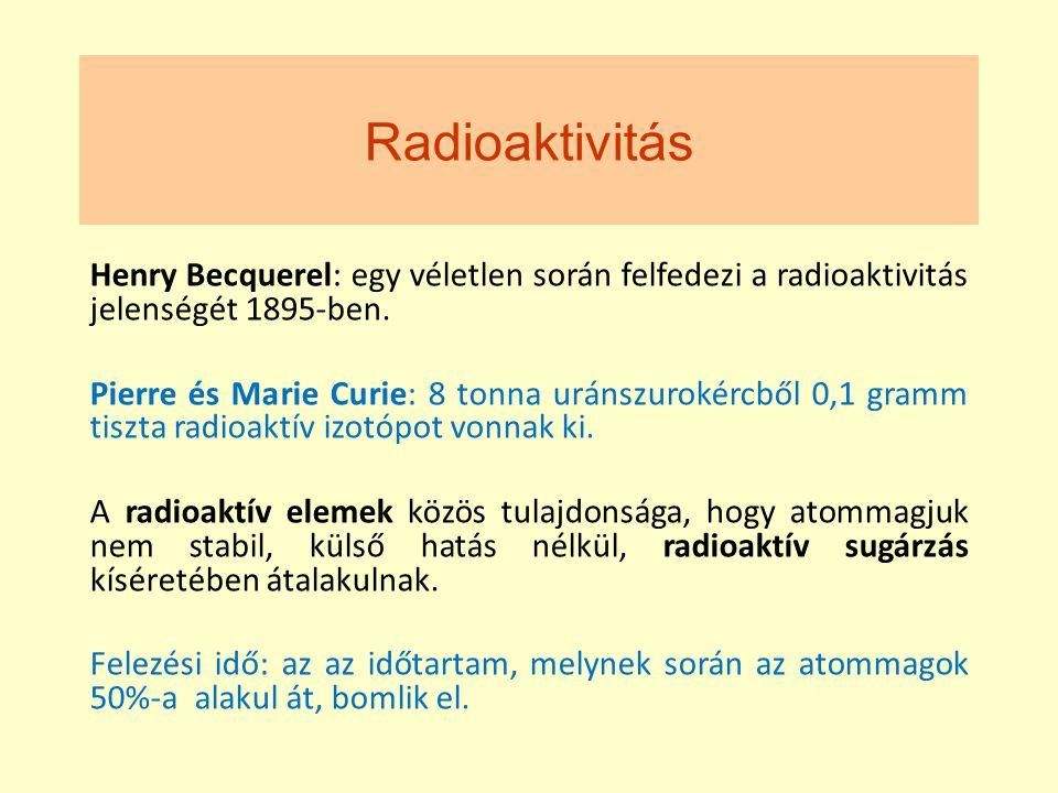 Radioaktivitás Henry Becquerel: egy véletlen során felfedezi a radioaktivitás jelenségét 1895-ben.