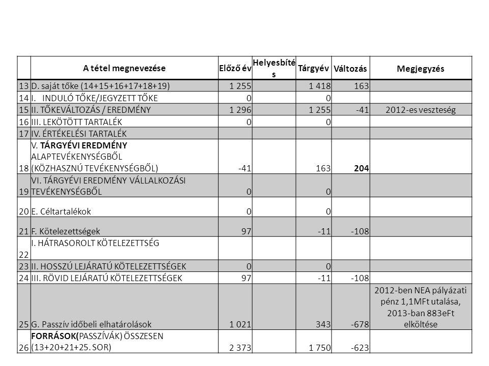 2012-ben NEA pályázati pénz 1,1MFt utalása, 2013-ban 883eFt elköltése