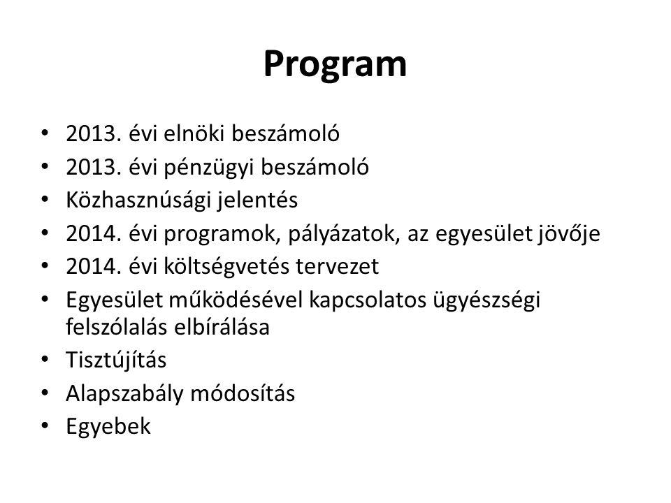 Program 2013. évi elnöki beszámoló 2013. évi pénzügyi beszámoló