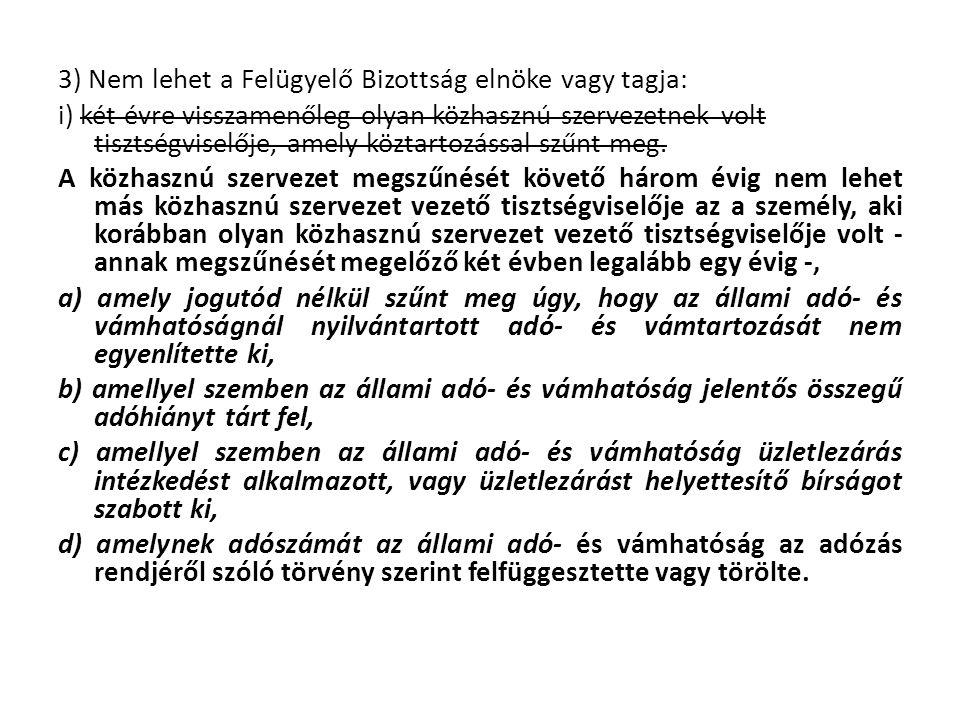 3) Nem lehet a Felügyelő Bizottság elnöke vagy tagja: