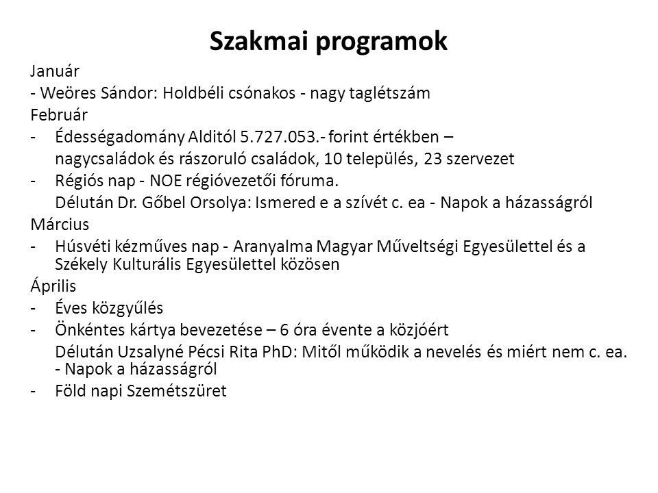 Szakmai programok Január