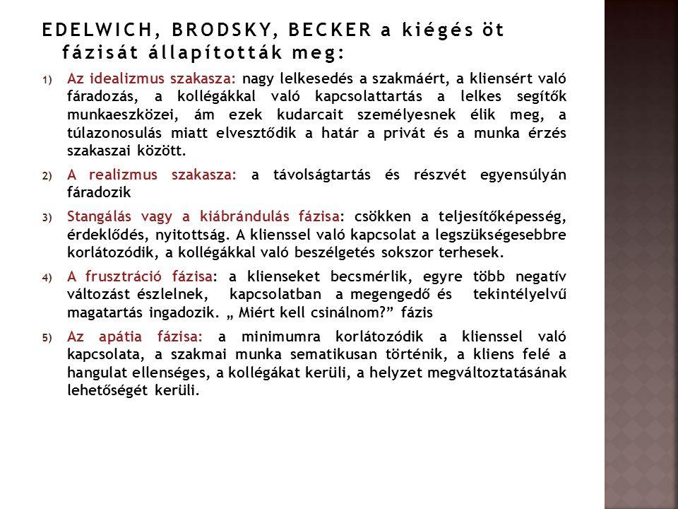 EDELWICH, BRODSKY, BECKER a kiégés öt fázisát állapították meg: