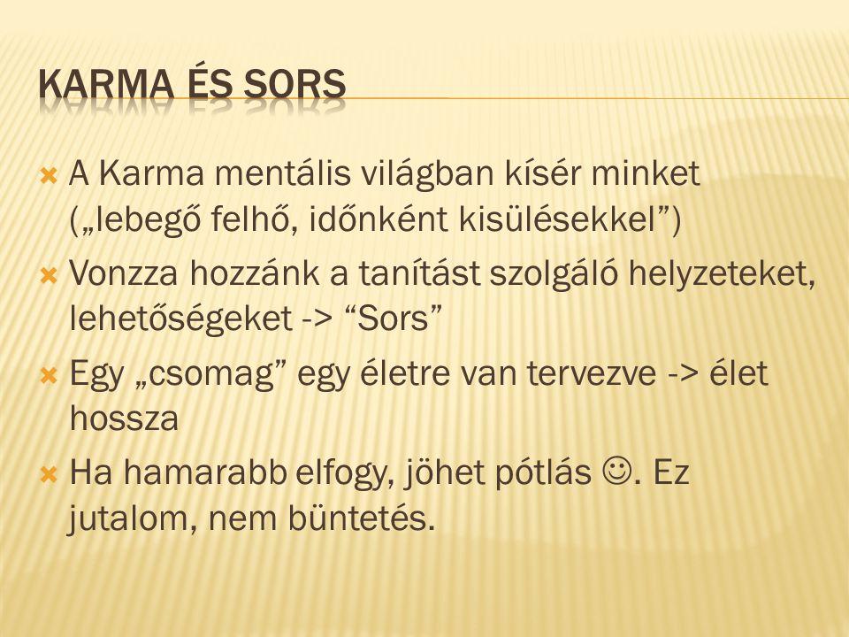"""Karma és Sors A Karma mentális világban kísér minket (""""lebegő felhő, időnként kisülésekkel )"""
