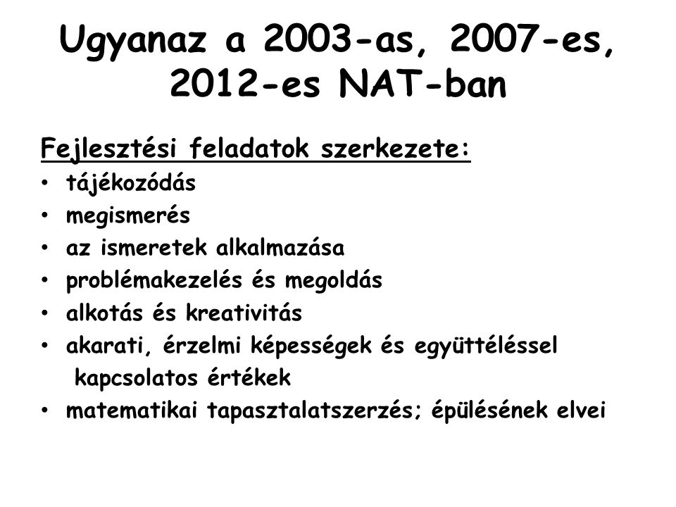 Ugyanaz a 2003-as, 2007-es, 2012-es NAT-ban
