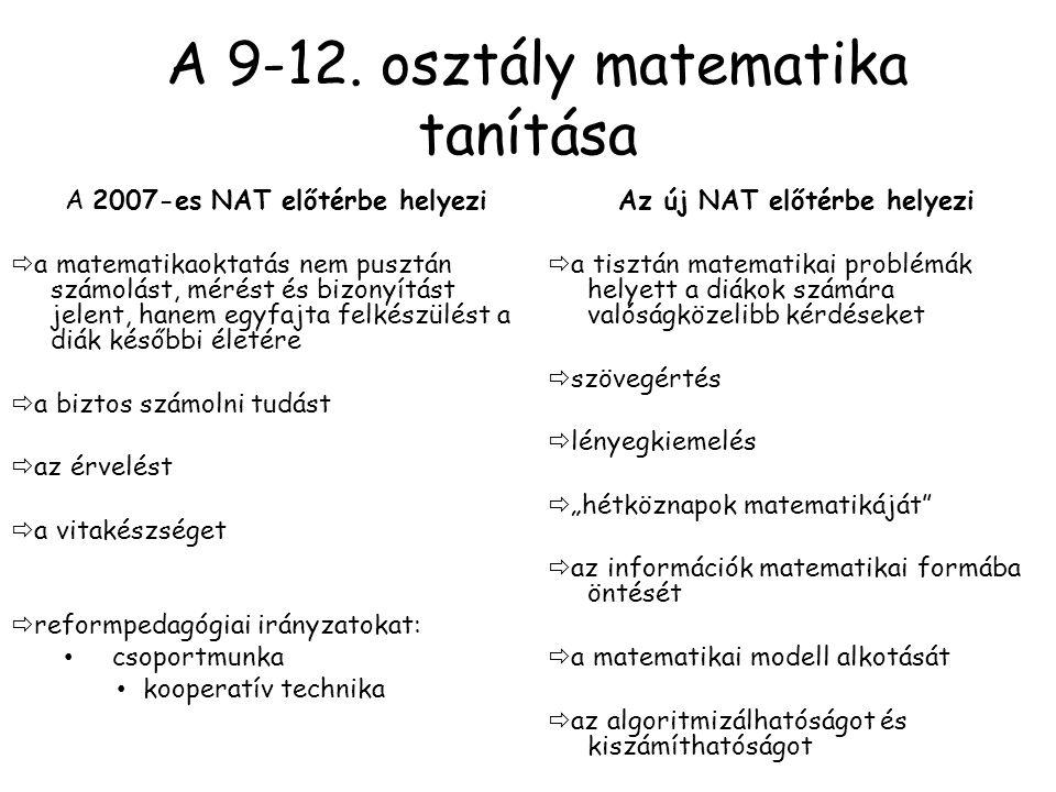 A 9-12. osztály matematika tanítása