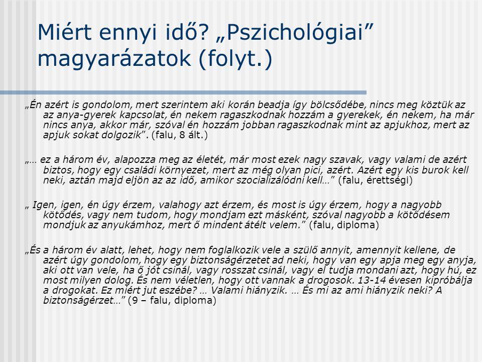 """Miért ennyi idő """"Pszichológiai magyarázatok (folyt.)"""