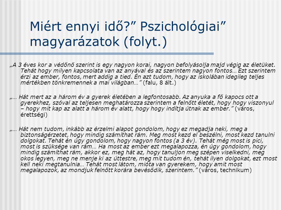 Miért ennyi idő Pszichológiai magyarázatok (folyt.)
