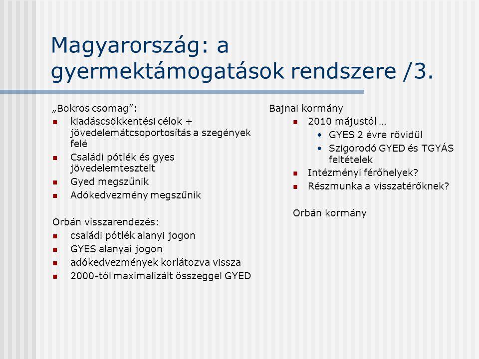 Magyarország: a gyermektámogatások rendszere /3.