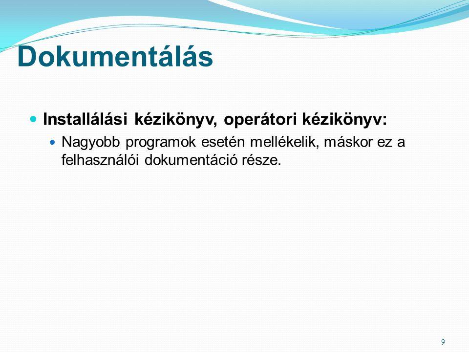 Dokumentálás Installálási kézikönyv, operátori kézikönyv: