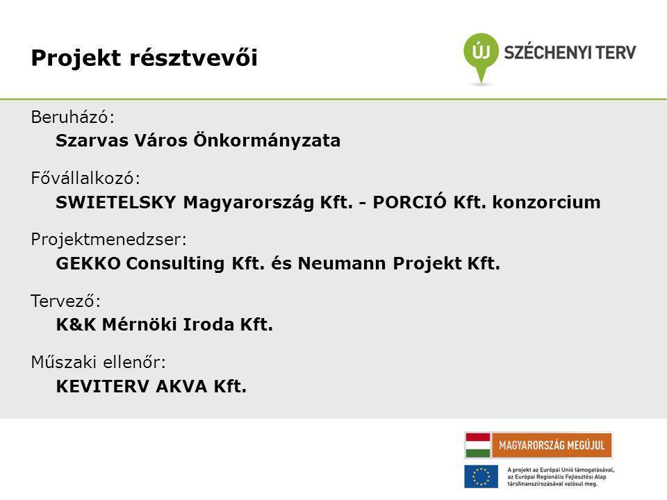 Projekt résztvevői Beruházó: Szarvas Város Önkormányzata Fővállalkozó: