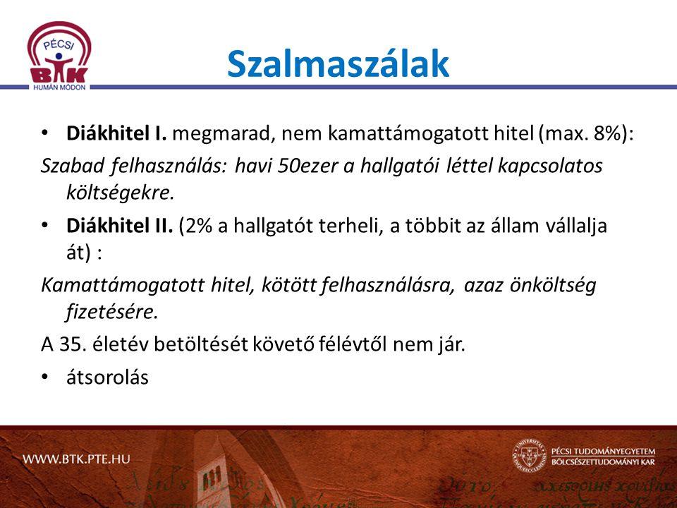 Szalmaszálak Diákhitel I. megmarad, nem kamattámogatott hitel (max. 8%):