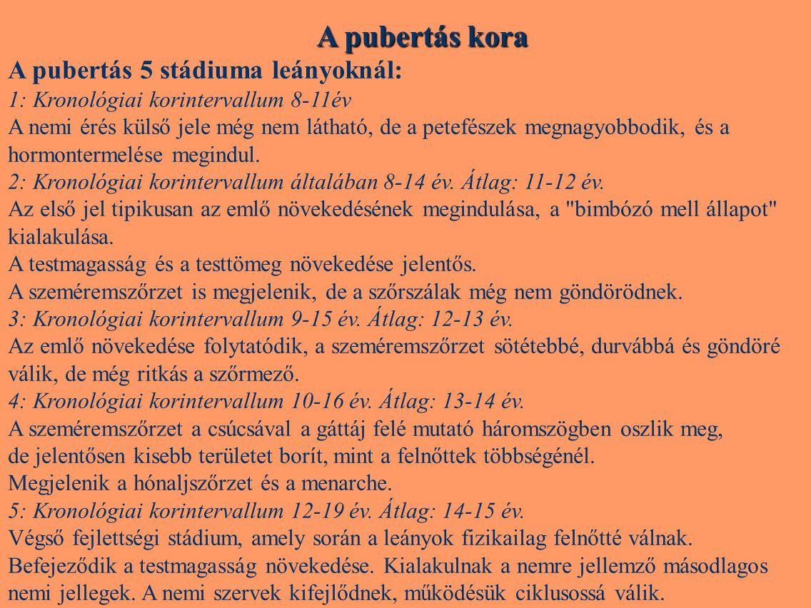 A pubertás kora A pubertás 5 stádiuma leányoknál:
