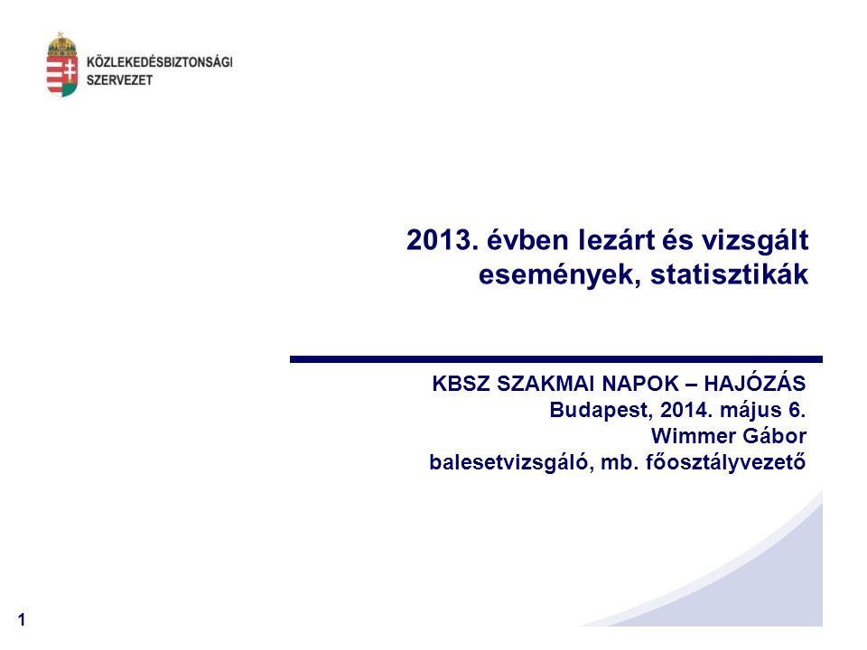 2013. évben lezárt és vizsgált események, statisztikák
