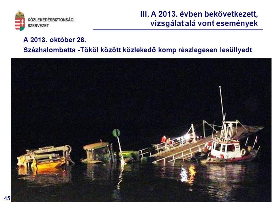 III. A 2013. évben bekövetkezett, vizsgálat alá vont események
