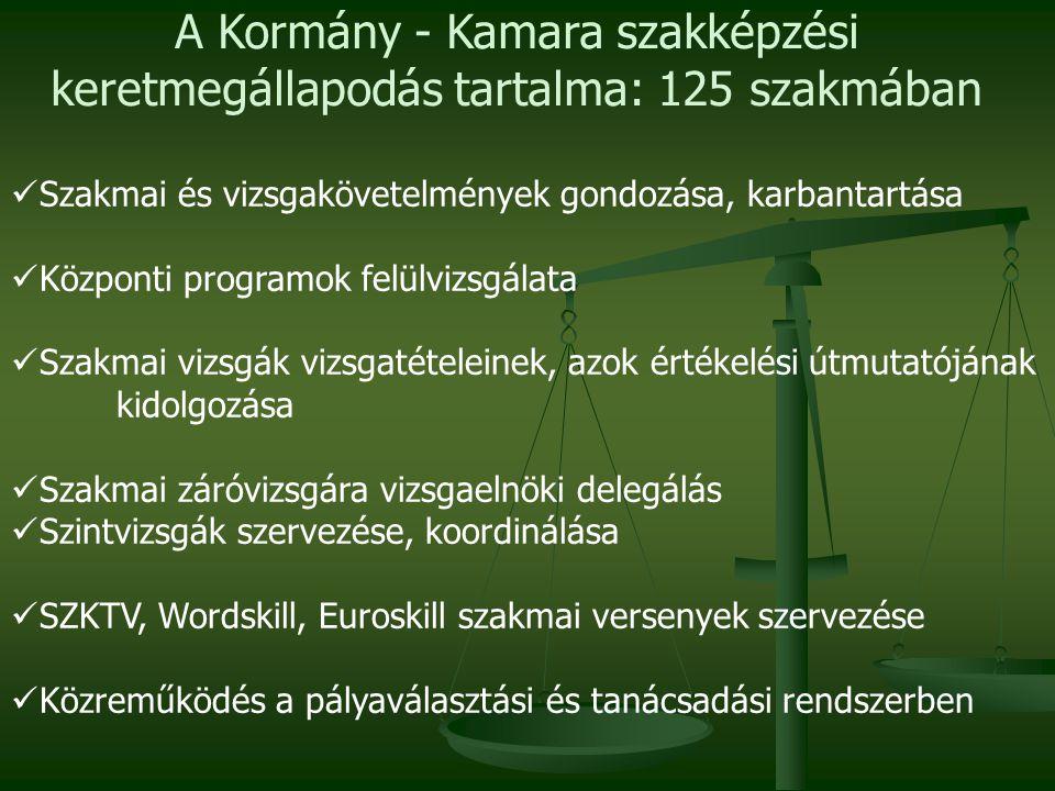 A Kormány - Kamara szakképzési keretmegállapodás tartalma: 125 szakmában
