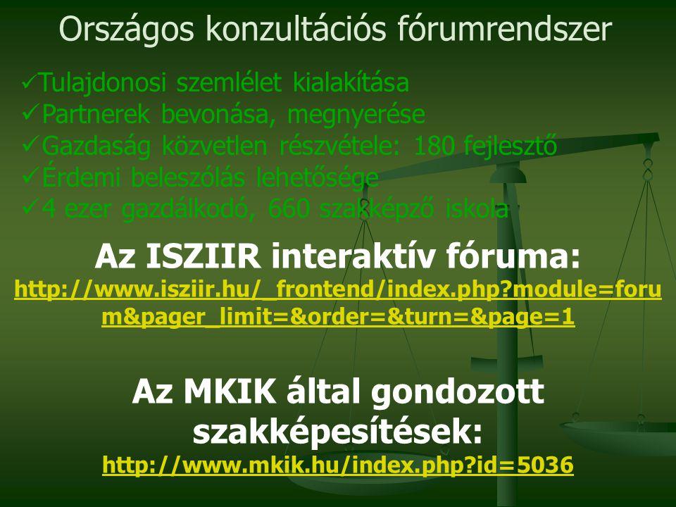 Az ISZIIR interaktív fóruma: Az MKIK által gondozott szakképesítések: