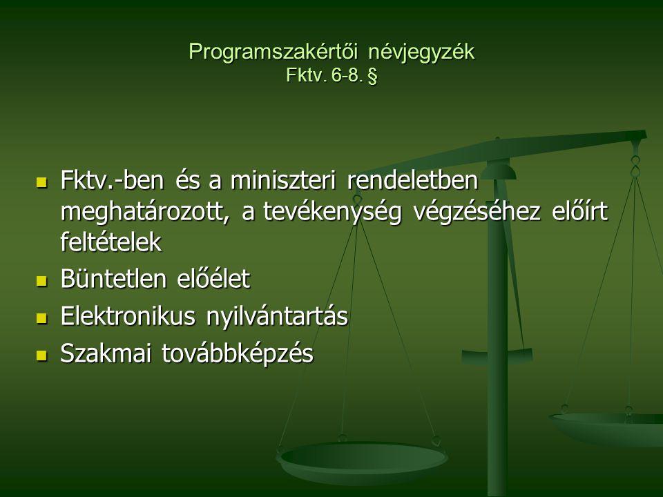 Programszakértői névjegyzék Fktv. 6-8. §