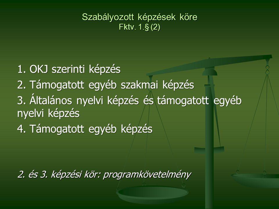 Szabályozott képzések köre Fktv. 1.§ (2)