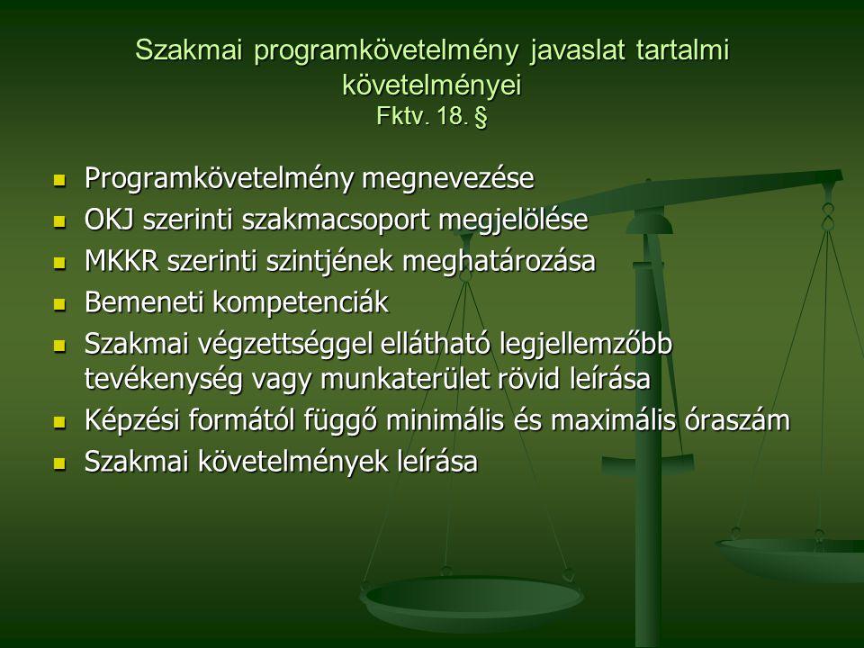Szakmai programkövetelmény javaslat tartalmi követelményei Fktv. 18. §