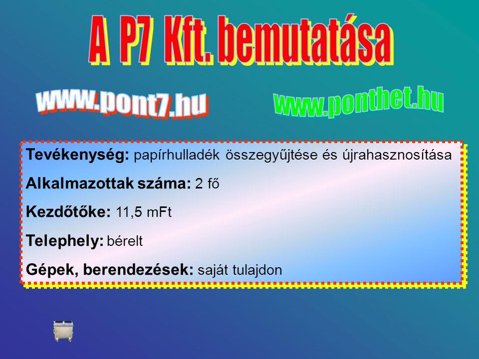A P7 Kft. bemutatása www.pont7.hu. www.ponthet.hu. Tevékenység: papírhulladék összegyűjtése és újrahasznosítása.