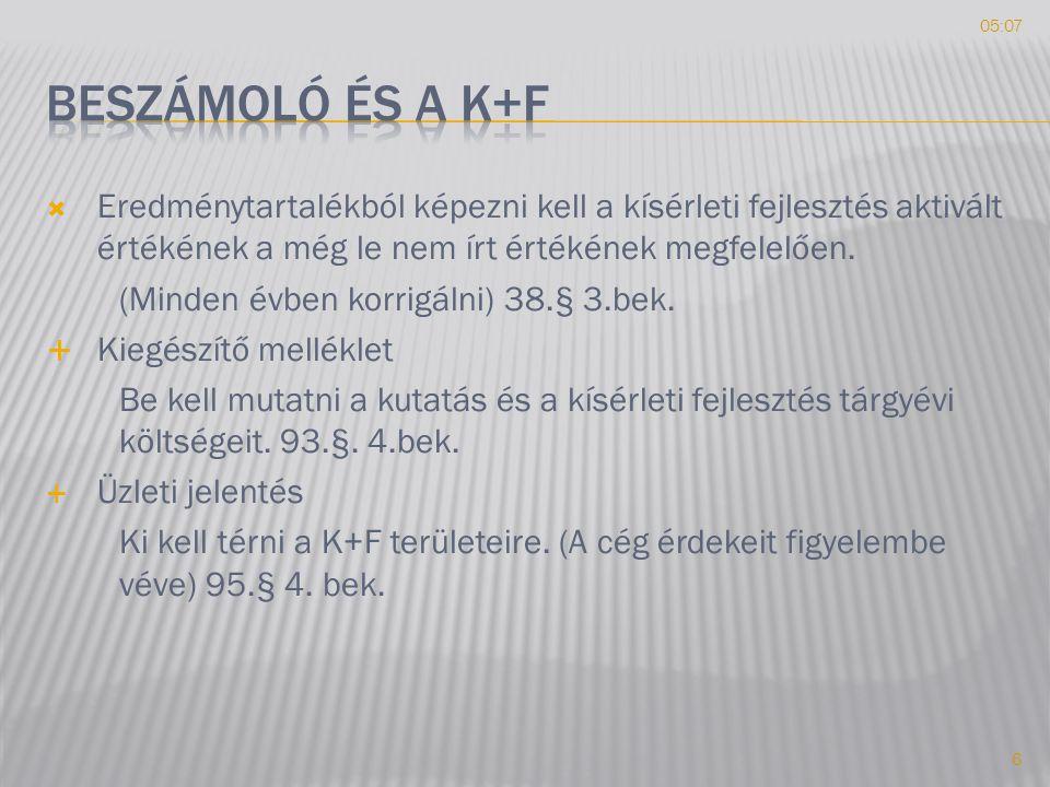 10:19 Beszámoló és a K+F. Eredménytartalékból képezni kell a kísérleti fejlesztés aktivált értékének a még le nem írt értékének megfelelően.