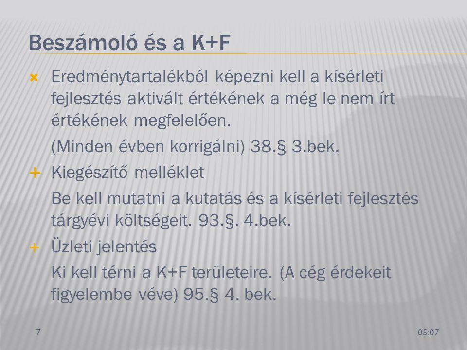 Beszámoló és a K+F Eredménytartalékból képezni kell a kísérleti fejlesztés aktivált értékének a még le nem írt értékének megfelelően.