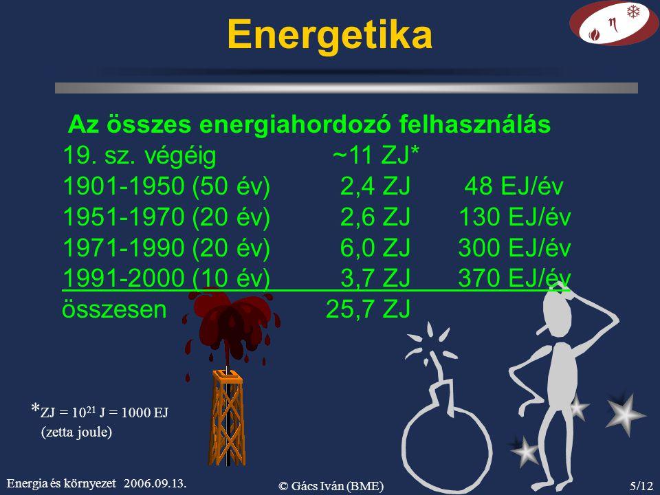 Energetika Az összes energiahordozó felhasználás