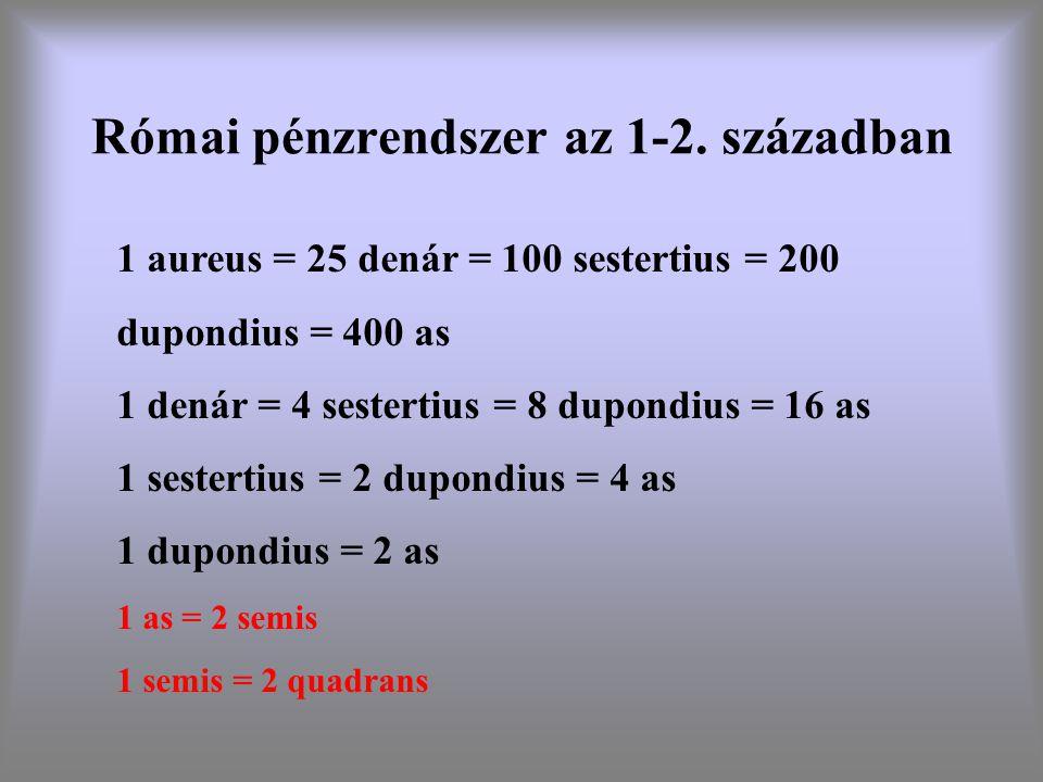 Római pénzrendszer az 1-2. században