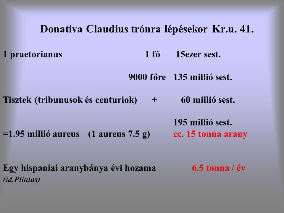 Donativa Claudius trónra lépésekor Kr.u. 41.