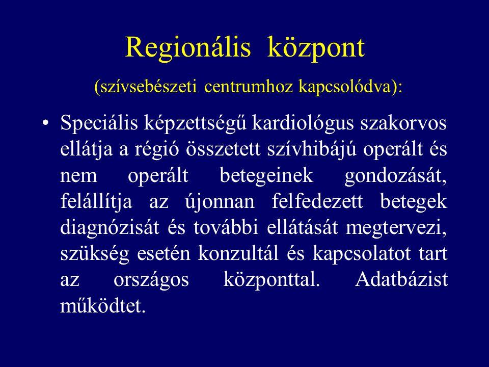 Regionális központ (szívsebészeti centrumhoz kapcsolódva):