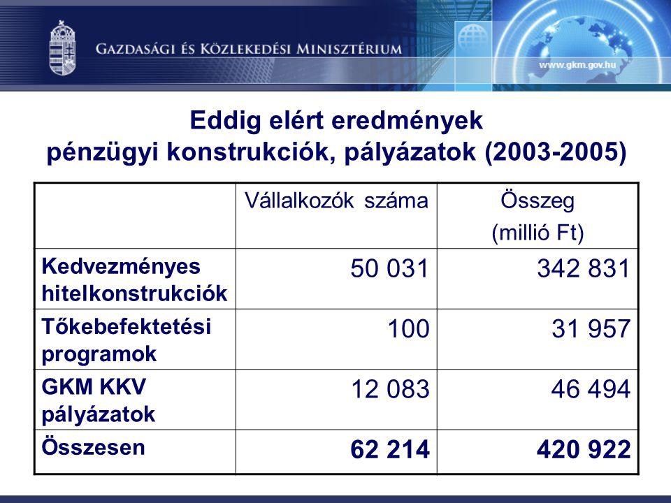 Eddig elért eredmények pénzügyi konstrukciók, pályázatok (2003-2005)
