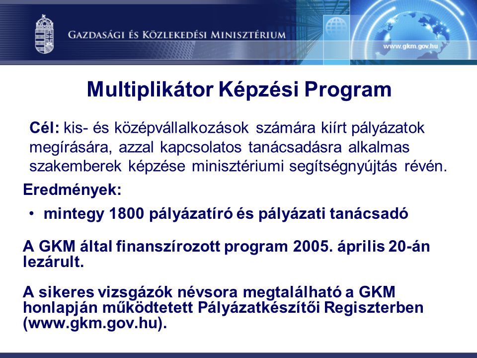 Multiplikátor Képzési Program