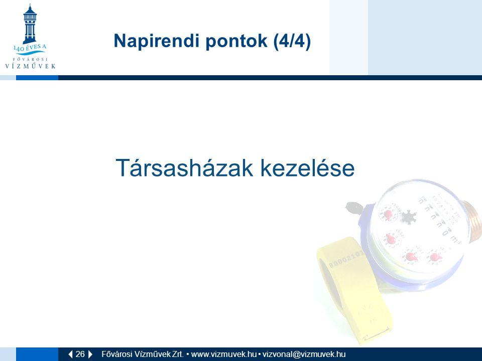 Társasházak kezelése Napirendi pontok (4/4)