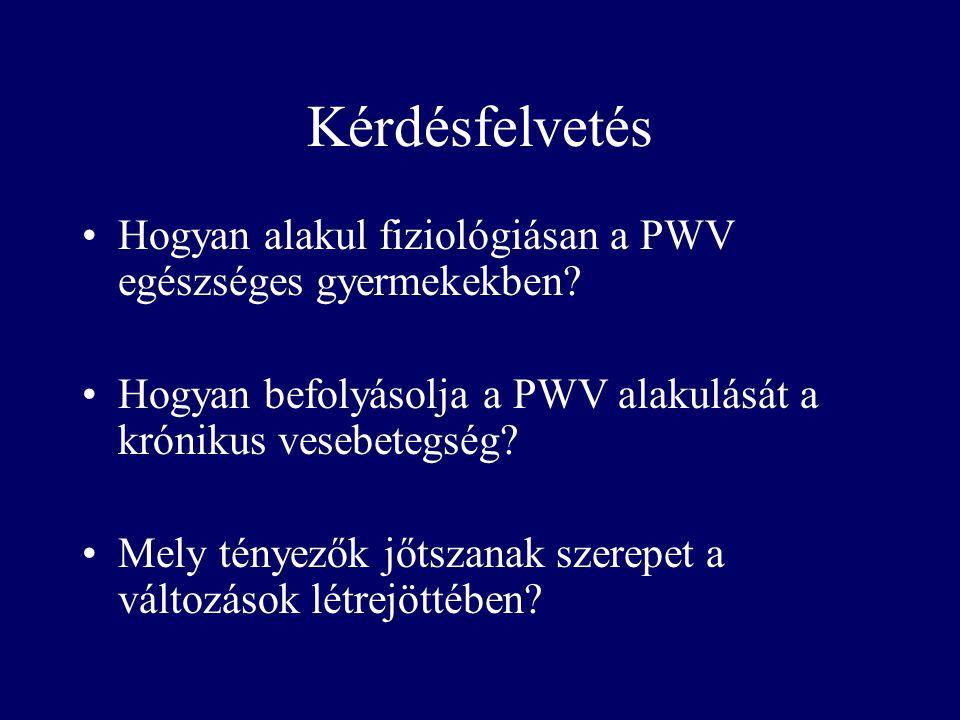Kérdésfelvetés Hogyan alakul fiziológiásan a PWV egészséges gyermekekben Hogyan befolyásolja a PWV alakulását a krónikus vesebetegség