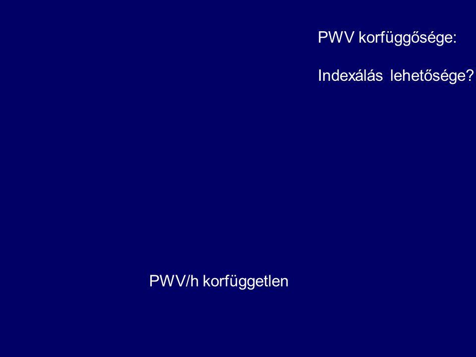 PWV korfüggősége: Indexálás lehetősége PWV/h korfüggetlen