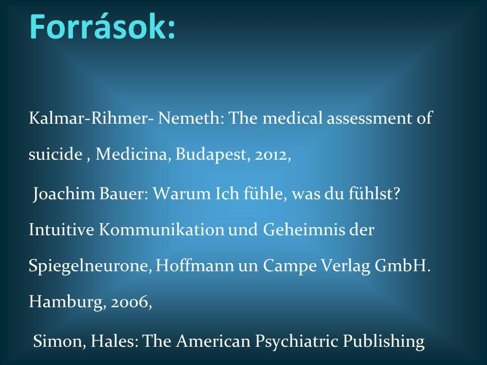 Források: Kalmar-Rihmer- Nemeth: The medical assessment of suicide , Medicina, Budapest, 2012,