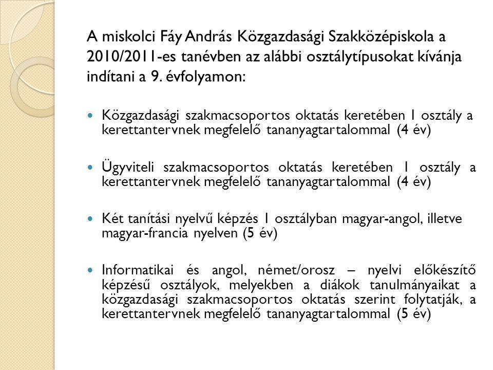 A miskolci Fáy András Közgazdasági Szakközépiskola a