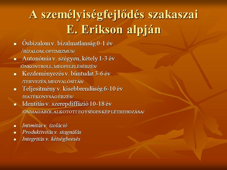 A személyiségfejlődés szakaszai E. Erikson alpján