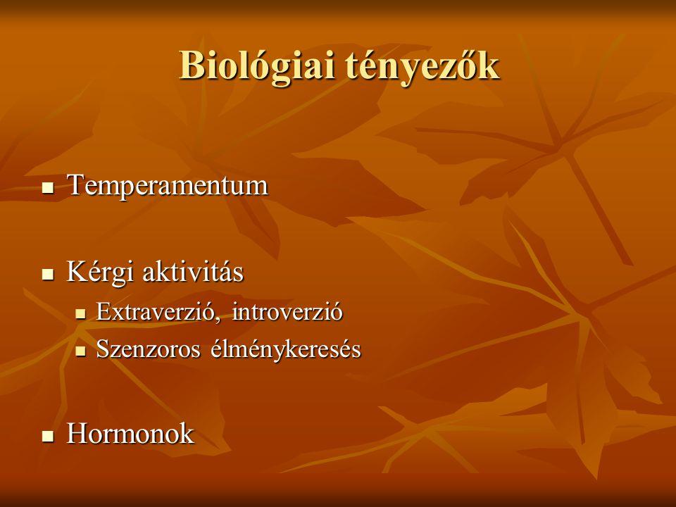Biológiai tényezők Temperamentum Kérgi aktivitás Hormonok