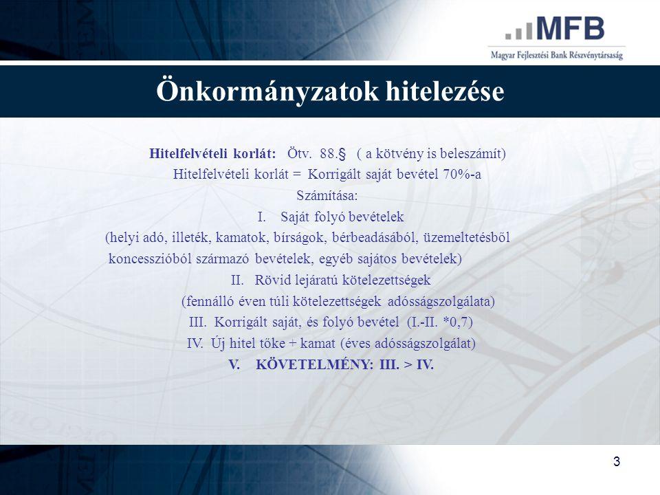 Önkormányzatok hitelezése V. KÖVETELMÉNY: III. > IV.