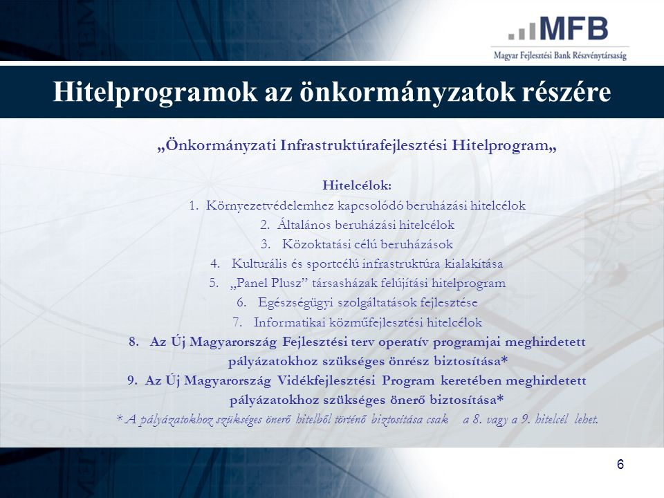 Hitelprogramok az önkormányzatok részére