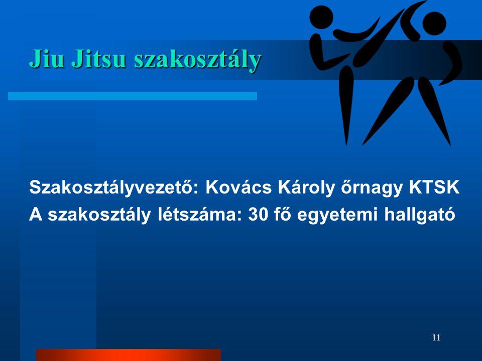 Jiu Jitsu szakosztály Szakosztályvezető: Kovács Károly őrnagy KTSK