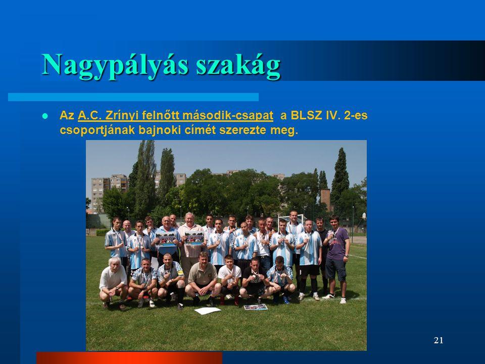 Nagypályás szakág Az A.C. Zrínyi felnőtt második-csapat a BLSZ IV.