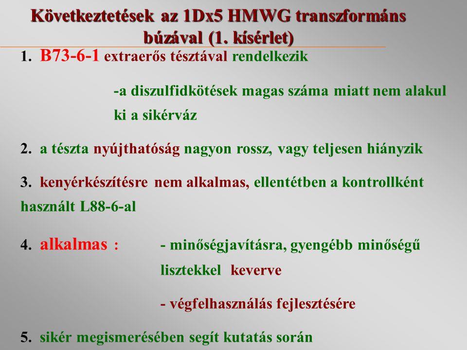 Következtetések az 1Dx5 HMWG transzformáns búzával (1. kísérlet)