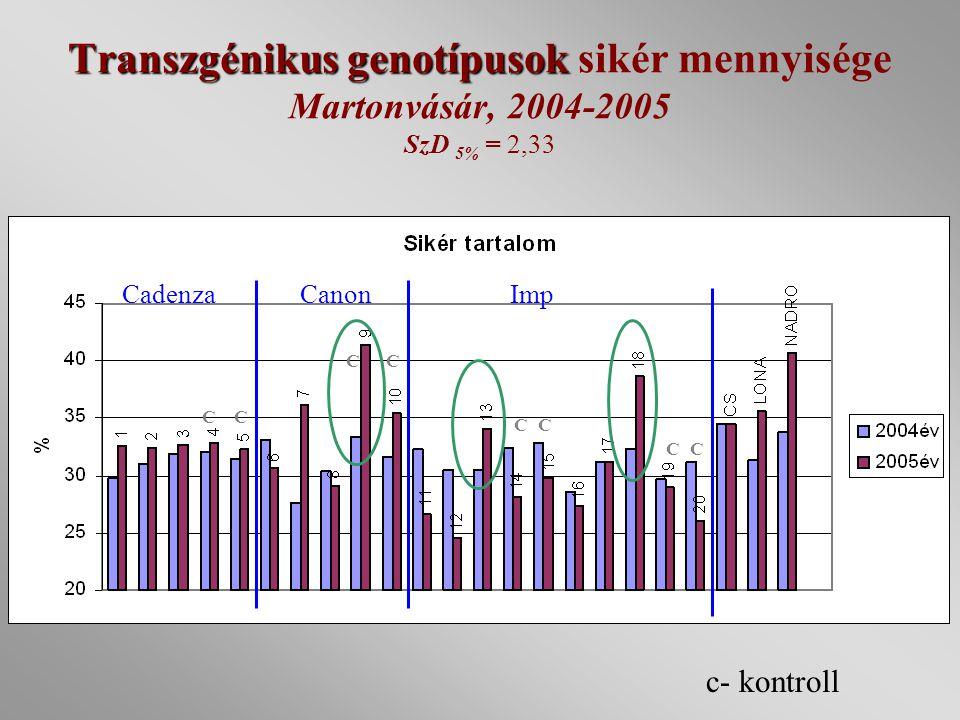 Transzgénikus genotípusok sikér mennyisége Martonvásár, 2004-2005 SzD 5% = 2,33