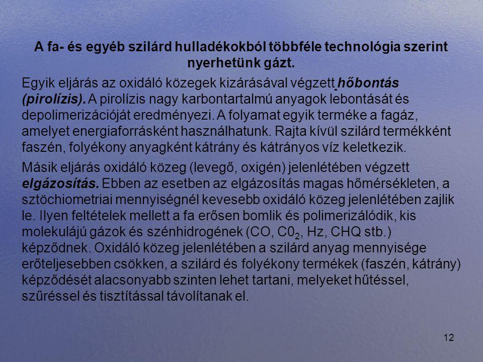 A fa- és egyéb szilárd hulladékokból többféle technológia szerint nyerhetünk gázt.